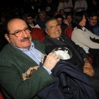 Foto Nicoloro G. 29/02/2016 Milano Panoramica di foto d' archivio di Umberto Eco. nella foto da sinistra Umberto Eco e Carlo De Benedetti al teatro Smeraldo per la manifestazione di ' Giustizia e Libertà ' del 12/03/2012 dal titolo ' Dissociarsi per ricordare. Dipende da noi '.
