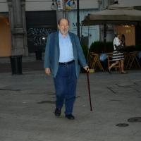Foto Nicoloro G. 29/02/2016 Milano Panoramica di foto d' archivio di Umberto Eco. nella foto Umberto Eco arriva al teatro Grassi per la serata della Milanesiana del 22/06/2015.