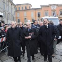 Foto Nicoloro G. 07/01/2011 Reggio Emilia Primo appuntamento ufficiale per i 150 anni dell' Unita' d' Italia alla presenza del capo dello Stato. nella foto Gianluigi Castagnetti, Giuliano Amato e Romano Prodi