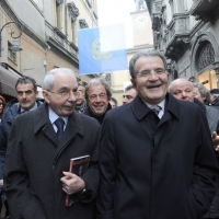 Foto Nicoloro G. 07/01/2011 Reggio Emilia Primo appuntamento ufficiale per i 150 anni dell' Unita' d' Italia alla presenza del capo dello Stato. nella foto Giuliano Amato e Romano Prodi