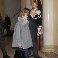 Foto Nicoloro G. 07/01/2011 Reggio Emilia Primo appuntamento ufficiale per i 150 anni dell' Unita' d' Italia alla presenza del capo dello Stato. nella foto Il presidente Giorgio Napolitano con la moglie Clio
