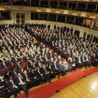 Foto Nicoloro G. 07/01/2011 Reggio Emilia Primo appuntamento ufficiale per i 150 anni dell' Unita' d' Italia alla presenza del capo dello Stato. nella foto La platea del teatro Valli