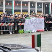 Foto Nicoloro G. 07/01/2011 Reggio Emilia Primo appuntamento ufficiale per i 150 anni dell' Unita' d' Italia alla presenza del capo dello Stato. nella foto Uno striscione davanti al teatro Valli