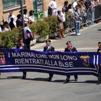 Foto Nicoloro G.  10/05/2015  Ravenna    Diciannovesimo raduno nazionale dei Marinai d' Italia. nella foto uno striscione che ricorda i marinai caduti.