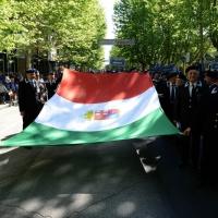 Foto Nicoloro G.   10/05/2015  Ravenna    Diciannovesimo raduno nazionale dei Marinai d' Italia. nella foto un grande tricolore.
