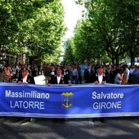 Foto Nicoloro G.   10/05/2015  Ravenna    Diciannovesimo raduno nazionale dei Marinai d' Italia. nella foto uno striscione che ricorda i due marò bloccati in India.