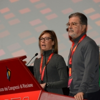 Foto Nicoloro G. 15/12/2018 Riccione ( Rimini ) Ultima giornata del 27° Congresso Nazionale della FIOM-CGIL. nella foto Ilaria Cucchi con il suo avvocato Fabio Anselmo.