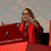 Foto Nicoloro G. 15/12/2018 Riccione ( Rimini ) Ultima giornata del 27° Congresso Nazionale della FIOM-CGIL. nella foto Francesca Re David, segretaria generale della FIOM-CGIL