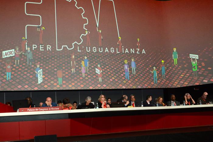 Foto Nicoloro G. 12/12/2018 Riccione ( Rimini ) Si e' aperto il 27° Congresso Nazionale FIOM-CGIL. nella foto il palco del Congresso.