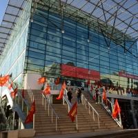 Foto Nicoloro G. 12/12/2018 Riccione ( Rimini ) Si e' aperto il 27° Congresso Nazionale FIOM-CGIL. nella foto l' ingresso al palazzo sede del Congresso.
