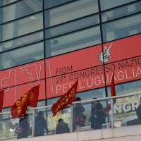 Foto Nicoloro G. 12/12/2018 Riccione ( Rimini ) Si e' aperto il 27° Congresso Nazionale FIOM-CGIL. nella foto bandiere della FIOM-CGIL.