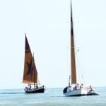 Foto Nicoloro G.   15/08/2019  Cervia ( Ra )   27° edizione di ' Cervia, la spiaggia ama il libro ' con il tradizionale sbarco degli scrittori dalle imbarcazioni storiche. nella foto le imbarcazioni storiche che hanno portato gli scrittori a riva.