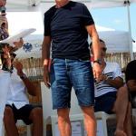 Foto Nicoloro G.   15/08/2019  Cervia ( Ra )   27° edizione di ' Cervia, la spiaggia ama il libro ' con il tradizionale sbarco degli scrittori dalle imbarcazioni storiche. nella foto Arrigo Sacchi.