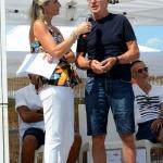 Foto Nicoloro G.   15/08/2019  Cervia ( Ra )   27° edizione di ' Cervia, la spiaggia ama il libro ' con il tradizionale sbarco degli scrittori dalle imbarcazioni storiche. nella foto Arrigo Sacchi intervistato dalla giornalista Francesca Cantiani.