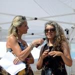 Foto Nicoloro G.   15/08/2019  Cervia ( Ra )   27° edizione di ' Cervia, la spiaggia ama il libro ' con il tradizionale sbarco degli scrittori dalle imbarcazioni storiche. nella foto la fumettista e scrittrice Paola Barbato, a destra, intervistata dalla giornalista Francesca Cantiani.