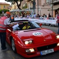 Foto Nicoloro G.  14/05/2015  Rimini     Arriva a Rimini la prima tappa della 33° edizione della 1000 Miglia. La storica competizione partita da Brescia si snoda su un percorso di 1760 chilometri con la partecipazione di 438 vetture e 42 Nazioni. nella foto la registrazione di una Ferrari che partecipa al Ferrari Tribute.