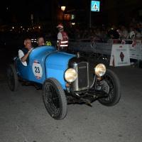 Foto Nicoloro G.  14/05/2015  Rimini     Arriva a Rimini la prima tappa della 33° edizione della 1000 Miglia. La storica competizione partita da Brescia si snoda su un percorso di 1760 chilometri con la partecipazione di 438 vetture e 42 Nazioni. nella foto l' arrivo a Rimini di una Amilcar CGSs spider del 1926.
