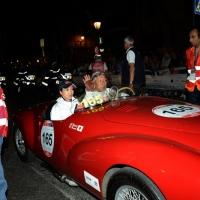 Foto Nicoloro G.  14/05/2015  Rimini     Arriva a Rimini la prima tappa della 33° edizione della 1000 Miglia. La storica competizione partita da Brescia si snoda su un percorso di 1760 chilometri con la partecipazione di 438 vetture e 42 Nazioni. nella foto l' arrivo a Rimini di una coppia giapponese su una Cisitalia Colombo Barchetta del 1948.