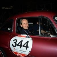 Foto Nicoloro G.  14/05/2015  Rimini     Arriva a Rimini la prima tappa della 33° edizione della 1000 Miglia. La storica competizione partita da Brescia si snoda su un percorso di 1760 chilometri con la partecipazione di 438 vetture e 42 Nazioni. nella foto l' arrivo a Rimini di Albert Carreras, figlio del tenore, su una Mercedes 300 SL Coupè W 198 del 1955.