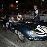 Foto Nicoloro G.  14/05/2015  Rimini     Arriva a Rimini la prima tappa della 33° edizione della 1000 Miglia. La storica competizione partita da Brescia si snoda su un percorso di 1760 chilometri con la partecipazione di 438 vetture e 42 Nazioni. nella foto l' arrivo a Rimini di una Jaguar D-Type del 1956.