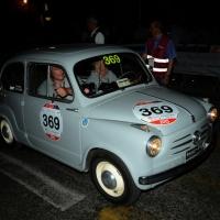 Foto Nicoloro G.  14/05/2015  Rimini     Arriva a Rimini la prima tappa della 33° edizione della 1000 Miglia. La storica competizione partita da Brescia si snoda su un percorso di 1760 chilometri con la partecipazione di 438 vetture e 42 Nazioni. nella foto l' arrivo a Rimini di una Fiat 600 del 1955.