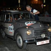 Foto Nicoloro G.  14/05/2015  Rimini     Arriva a Rimini la prima tappa della 33° edizione della 1000 Miglia. La storica competizione partita da Brescia si snoda su un percorso di 1760 chilometri con la partecipazione di 438 vetture e 42 Nazioni. nella foto l' arrivo a Rimini di una Fiat Topolino 500 Belvedere del 1955.