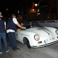 Foto Nicoloro G.  14/05/2015  Rimini     Arriva a Rimini la prima tappa della 33° edizione della 1000 Miglia. La storica competizione partita da Brescia si snoda su un percorso di 1760 chilometri con la partecipazione di 438 vetture e 42 Nazioni. nella foto l' arrivo a Rimini dei due fratelli Ferdinand e Wolfgang Porsche su una Porsche 356 1500 Speedster del 1955.
