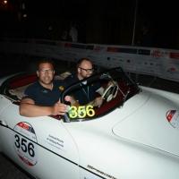 Foto Nicoloro G.  14/05/2015  Rimini     Arriva a Rimini la prima tappa della 33° edizione della 1000 Miglia. La storica competizione partita da Brescia si snoda su un percorso di 1760 chilometri con la partecipazione di 438 vetture e 42 Nazioni. nella foto l' arrivo a Rimini dei due fratelli Ferdinand, a sinistra, e Wolfgang Porsche su una Porsche 356 1500 Speedster del 1955.