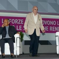 Foto Nicoloro G.   20/08/2018  Rimini   Seconda giornata dell' edizione 2018 del Meeting di C.L. che quest' anno ha per tema ' Le forze che muovono la storia sono le stesse che rendono l' uomo felice '. nella foto seduto Julian Carron, presidente di Comunione e Liberazione, e il filosofo Salvatore Natoli.