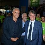 Foto Nicoloro G.   24/08/2019  Rimini    Settima ed ultima giornata della 40° edizione del ' Meeting per l' amicizia fra i popoli ' che quest' anno ha per titolo ' Nacque il tuo nome da cio' che fissavi '. nella foto a destra Davide Sassoli, presidente del Parlamento Europeo, con l' onorevole Mario Mauro.