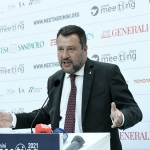 Foto Nicoloro G.   24/08/2021   Rimini   Quinta giornata della 42° edizione del Meeting di Comunione e Liberazione che quest' anno ha per titolo ' Il coraggio di dire io '. nella foto il segretario della Lega Matteo Salvini.