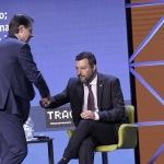 Foto Nicoloro G.   24/08/2021   Rimini   Quinta giornata della 42° edizione del Meeting di Comunione e Liberazione che quest' anno ha per titolo ' Il coraggio di dire io '. nella foto Giuseppe Conte al suo arrivo sul palco saluta Matteo Salvini.
