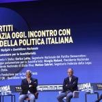 Foto Nicoloro G.   24/08/2021   Rimini   Quinta giornata della 42° edizione del Meeting di Comunione e Liberazione che quest' anno ha per titolo ' Il coraggio di dire io '. nella foto da sinistra Giuseppe Conte, Antonio Tajani, Enrico Letta e Matteo Salvini.