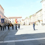 Foto Nicoloro G.   25/04/2020   Ravenna   In una piazza del Popolo praticamente deserta si e' svolta la cerimonia di commemorazione del 75° anniversario del 25 Aprile. nella foto una veduta della piazza del Popolo, sede della cerimonia, praticamente vuota.