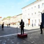 Foto Nicoloro G.   25/04/2020   Ravenna   In una piazza del Popolo praticamente deserta si e' svolta la cerimonia di commemorazione del 75° anniversario del 25 Aprile. nella foto il sindaco Michele de Pascale tiene il suo discorso in una piazza praticamente vuota.