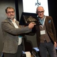 Foto Nicoloro G. 17/11/2017 Milano 9° edizione di 'Science for Peace ', Conferenza mondiale dal titolo ' Post-Verita''. nella foto il fotografo Joan Fontcuberta, vincitore del ' Art for Peace Award 2017 ' con Denis Curti, direttore del mensile ' Il Fotografo'.