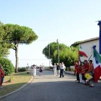 Foto Nicoloro G. 04/08/2017 Mandriole ( Ravenna ) Commemorazione della morte di Anita Garibaldi avvenuta il 04/08/1849 nella Fattoria Guiccioli in localita' Mandriole. nella foto l' alzabandiera di garibaldini in costume.