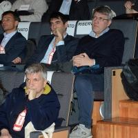 Foto Nicoloro G. 17/02/2017 Rimini Si e' aperto il Congresso fondativo di Sinistra Italiana. nella foto in alto da sinistra Stefano Fassina, Nicola Fratoianni, Maurizio Landini e in basso Nicola Vendola.