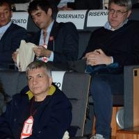 Foto Nicoloro G. 17/02/2017 Rimini Si e' aperto il Congresso fondativo di Sinistra Italiana. nella foto Nichi Vendola, seduto in bassoa, e in alto Nicola Fratoianni, a sinistra, e Maurizio Landini.