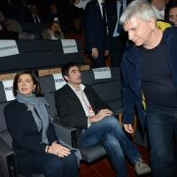 Foto Nicoloro G. 18/02/2017 Rimini Seconda giornata del Congresso fondativo di Sinistra Italiana. nella foto la presidente della Camera Laura Boldrini tra Nichi Vendola e Nicola Fratoianni.