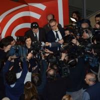 Foto Nicoloro G. 18/02/2017 Rimini Seconda giornata del Congresso fondativo di Sinistra Italiana. nella foto la presidente della Camera Laura Boldrini risponde ai giornalisti.