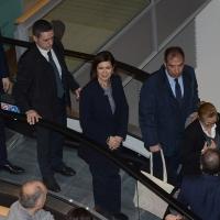 Foto Nicoloro G. 18/02/2017 Rimini Seconda giornata del Congresso fondativo di Sinistra Italiana. nella foto la presidente della Camera Laura Boldrini lascia il Palacongressi.