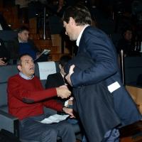 Foto Nicoloro G. 19/02/2017 Rimini Terza giornata conclusiva del Congresso fondativo di Sinistra Italiana. nella foto al suo arrivo Pippo Civati saluta Luigi De Magistris.