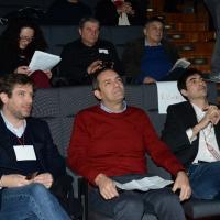 Foto Nicoloro G. 19/02/2017 Rimini Terza giornata conclusiva del Congresso fondativo di Sinistra Italiana. nella foto da sinistra Pippo Civati, Luigi De Magistris e Nicola Fratoianni.