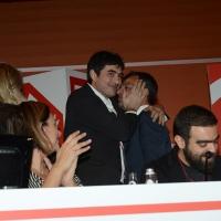 Foto Nicoloro G. 19/02/2017 Rimini Terza giornata conclusiva del Congresso fondativo di Sinistra Italiana. nella foto Nicola Fratoianni abbraccia Stefano Fassina che ha appena concluso il suo intervento.