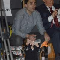 Foto Nicoloro G. 19/02/2017 Rimini Terza giornata conclusiva del Congresso fondativo di Sinistra Italiana. nella foto Eddy Testa, il compagno di Nichi Vendola, accudisce al piccolo Tobia.