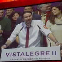 Foto Nicoloro G.  19/02/2017    Rimini   Terza giornata conclusiva del Congresso fondativo di Sinistra Italiana. nella foto dalla Spagna un augurio e un saluto al congresso da parte del leader di Podemos Pablo Iglesias.