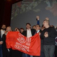 Foto Nicoloro G.  19/02/2017    Rimini   Terza giornata conclusiva del Congresso fondativo di Sinistra Italiana. nella foto al centro del palco Nicola Fratoianni, Fabio Mussi e Nichi Vendola intonano ' Bella Ciao '.