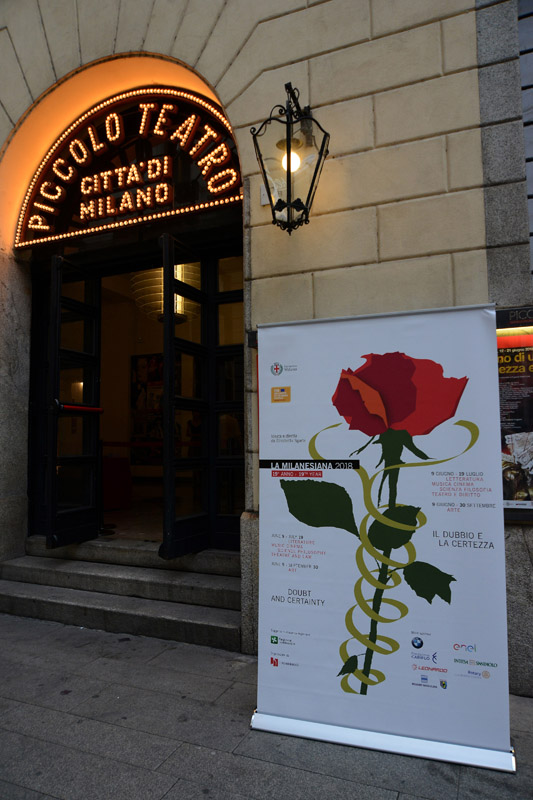 Foto Nicoloro G. 24-06-2018 Milano Edizione 2018 de ' La Milanesiana ' che ha per tema ' Il Dubbio e la Certezza '. nella foto l' ingresso al Piccolo Teatro Grassi sede dell' evento.