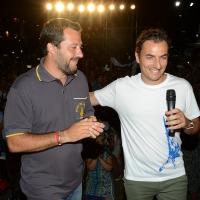 Foto Nicoloro G. 04/08/2018 Cervia ( Ravenna ) Festa della Lega Romagna. nella foto il ministro Matteo Salvini e il sottosegretario alla Giustizia Jacopo Morrone.